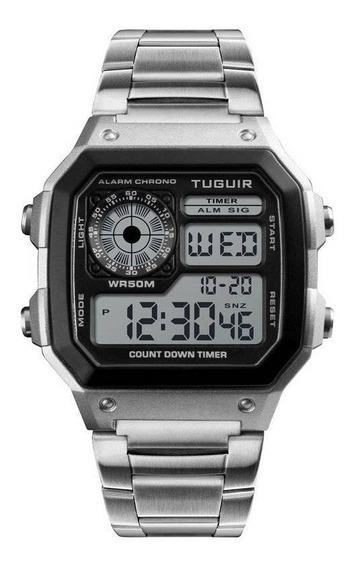 Relógio Digital Masculino Original Tuguir 1335 Aço Inox Novo