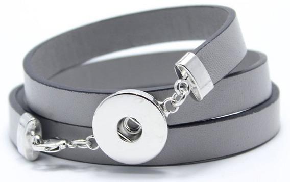 Bracelete Modelo Snap Botão De Pressão Com Cristais Em Couro
