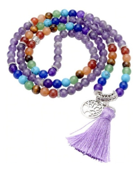 Japamala 108 Contas Pedra Natural Ametista Raio Violeta Yoga