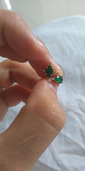Brinco De Esmeralda Com Diamante