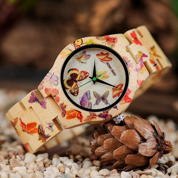 Relógio De Pulso Infatojuvenil Em Madeira De Bambu Bobo Bird