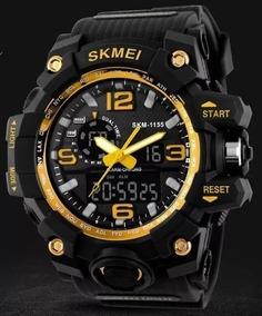 Relógio Skmei 1155 Esportivo Estilo Gshock Preto Dourado