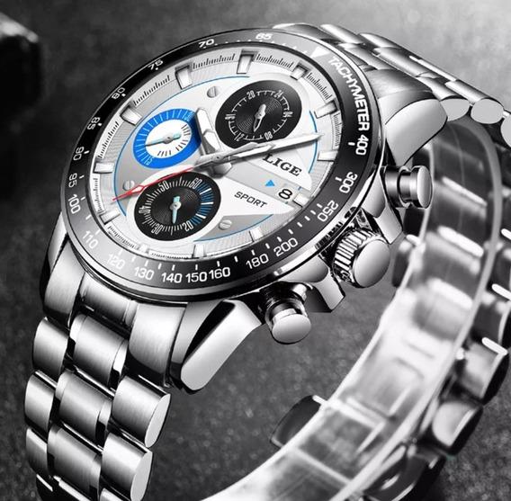Kit 2 Relógios Da Lige De Aço Inoxidável A Prova D