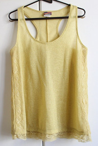 Blusa Regata Feminina Dourada Brilho Renda Mercatto Brechós