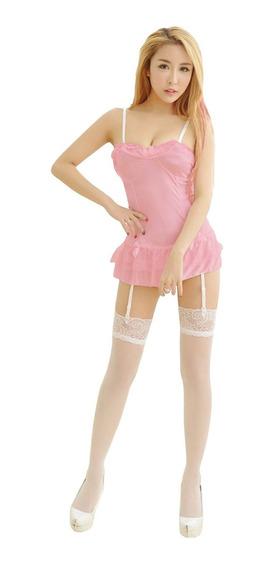 Babydoll Rosa Vestido Sexy Con Tirantes Liguero Y Tanga