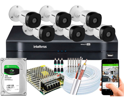 Kit Cftv 6 Câmeras Segurança Intelbras 1120b 720p Mhdx 1108