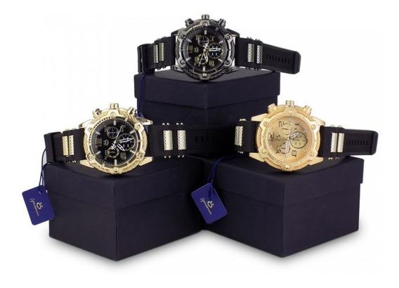 Kit 3 Relógios Masculinos Original Silicone