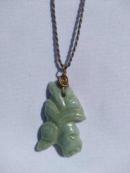 Dije De Pakal Maya De Jade Guatemalteco. Verde Claro