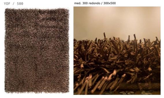 Tapete Shaggy 50mm Bruges 3x3m Quadrado Marrom Artesanal 3m