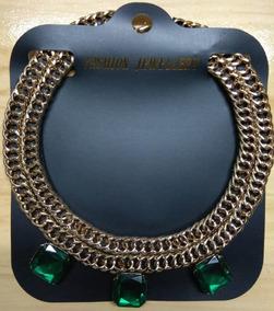 Fashion Colar Aço Dourado E Pedras Verde