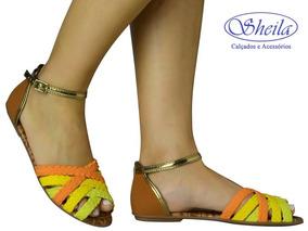 Sandália Rasteira Mississipi X5151 - Amarelo/laranja