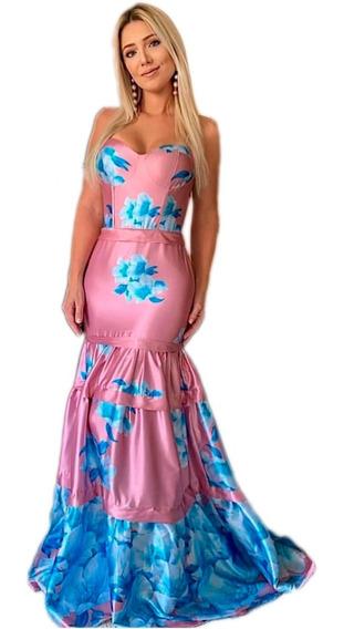 Vestido Longo Floral Madrinha Casamento Dia Formatura # 65