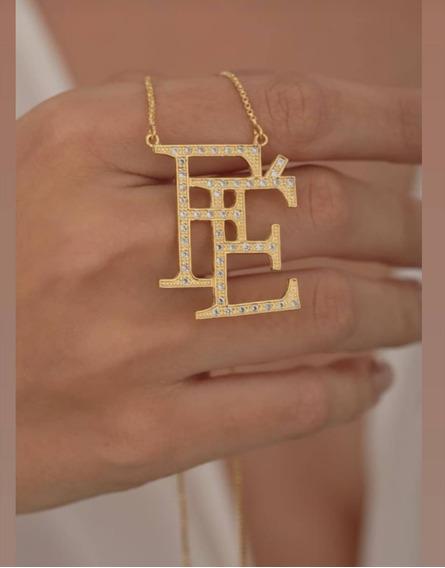 Colar /corrente Dourado / Pingente Fé /strass