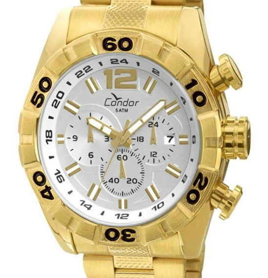 Relógio Condor Masculino Dourado Esportivo Original Grande
