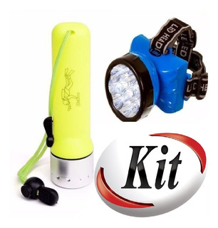 Kit Lanterna Meratica 180 Lumens Recarregável + Lant/ Cabeça