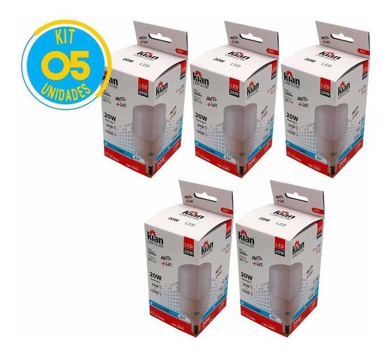 Lâmpada Led Bulbo 20w Branca E27 Kian (kit Com 5)