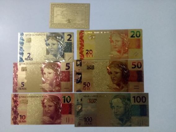 Brasil Set Completo Com 6 Cédulas Ouro 24k Color Fe - Rav73
