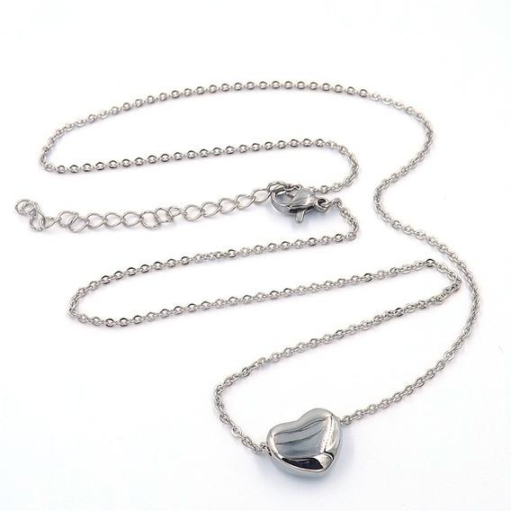 Collar De Acero Mini Corazón Inflado Plateado