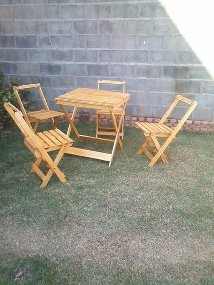 Conjunto Mesa Com 4 Cadeiras Dobrável