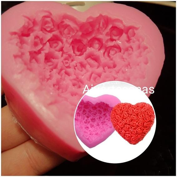 Molde De Silicona Corazón Y Rosas 6cm Jabón Chocolate Fondan