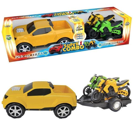 Carrinho Pick-up Texas Rally Super Combo C/ 2 Motos Bs Toys