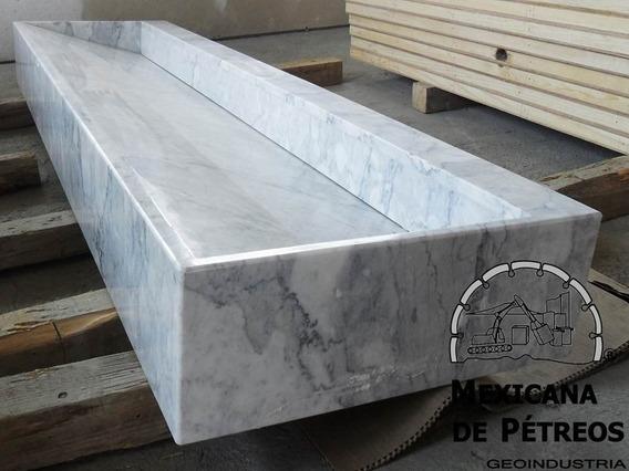 Lavabo Minimalista De Mármol Blanco Veneciano Para Baño