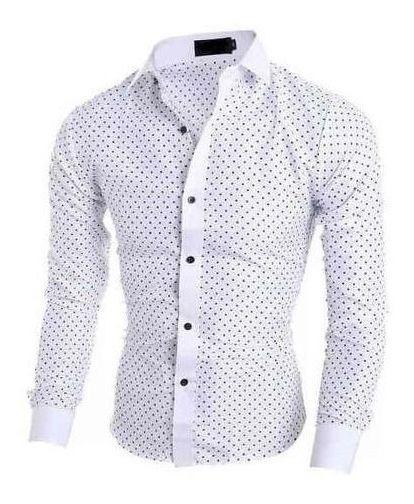 Camisa Slim Poá Premium 4% Lycra- Frete Grátis P/ 2 Unidades