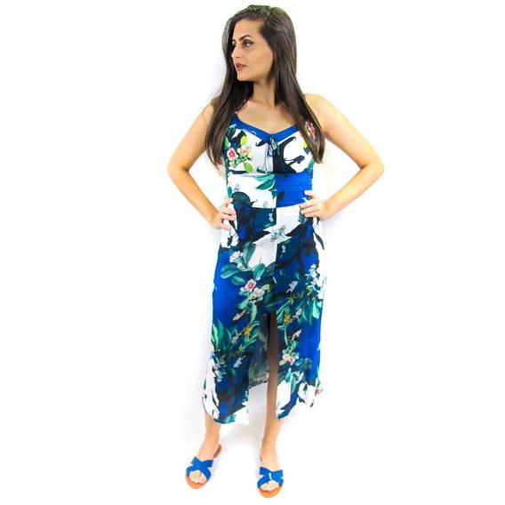 Vestido Com Fenda Estampado Midi
