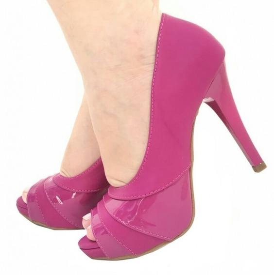 Sapato Peep Toe Meia Pata Salto Fino Alto Pink Fúscia