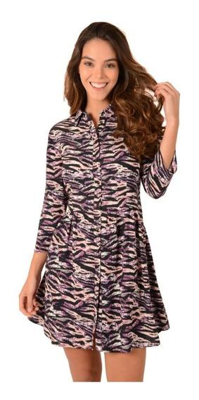 Vestido Casual Dama Mujer Animal Print Color Violeta Lila