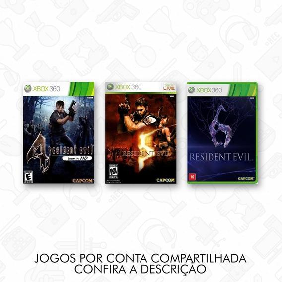 Pack Com Resident Evil 4, 5 E 6 Xbox 360 Conta Compartilhada