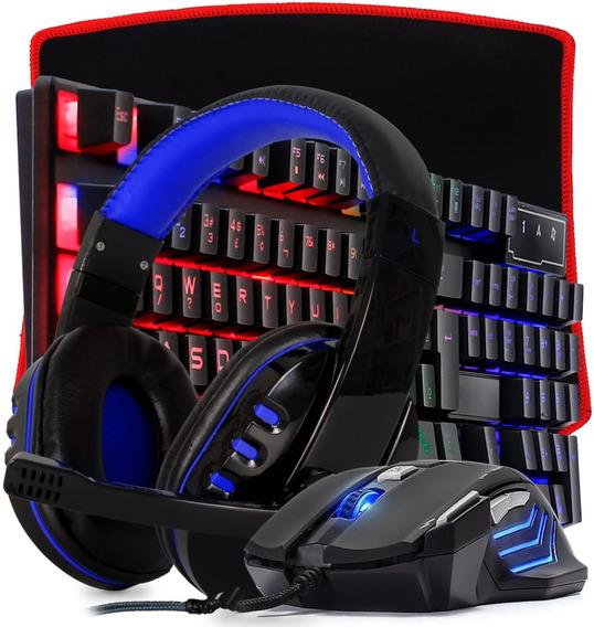 Combo Teclado Fone Mouse Pc Gamer Led Usb Jogos Barato