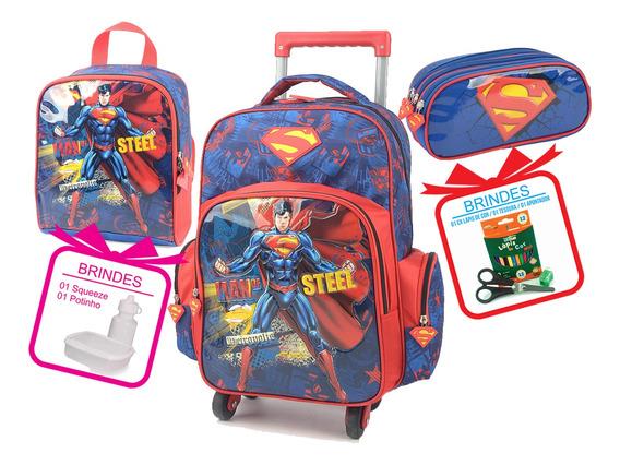 Mochila Do Superman Com Lancheira E Estojo Original Completo