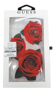 Funda Protector iPhone Plus 8 7 6 Guess Rosas Negro 5.5pulg