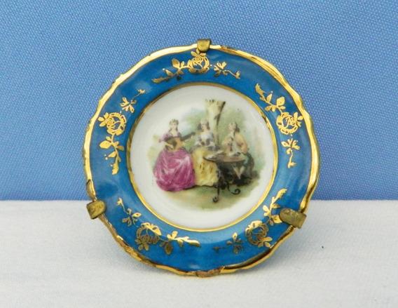 Plato Decorativo Porcelana Limoges 5,5 Cm Soporte Alambre