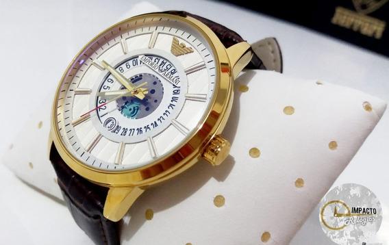 Relógio Masculino Dourado E.a. Pulseira De Couro