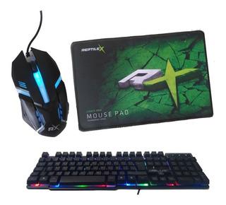 Kit Gamer Keyboard Teclado, Mouse, Mouse Pad Reptilex
