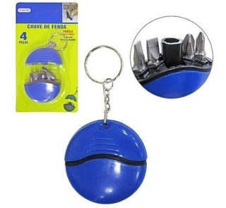 Chaveiro Mini Chave De Fenda / Philips 4 Pontas Azul