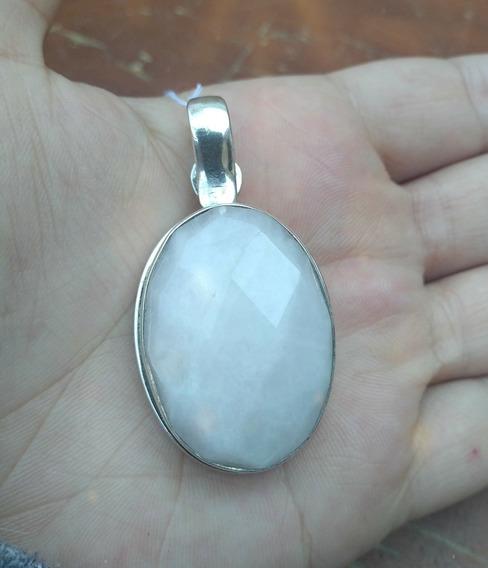 Pingente De Prata Com Pedra Natural De Quartzo Branco