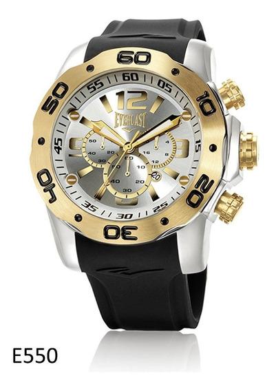 Relógio Pulso Everlast Masculino Cronografo Aço Preto E550