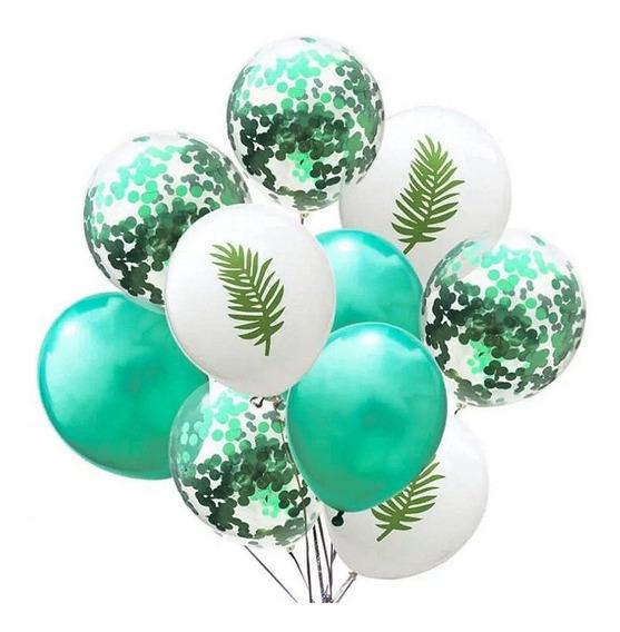 Set 15 Globos Selva Con Confetti 12 Pulgadas Fiestas Eventos