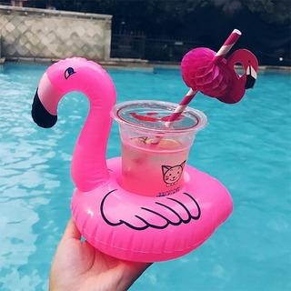 Kit 5 Boias Piscina Porta Copo Bebida Flutuador Flamingo