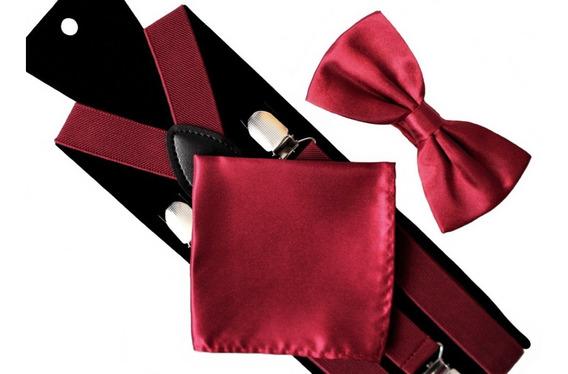 Set Humita + Suspensores + Pañuelo Color Rojo Burdeu