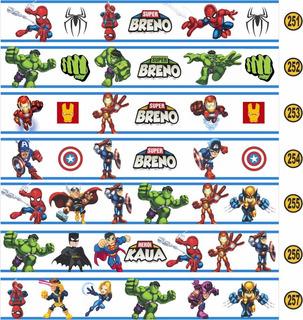 02 Faixa Border Decorativa Super Heroi Com Nome Criança