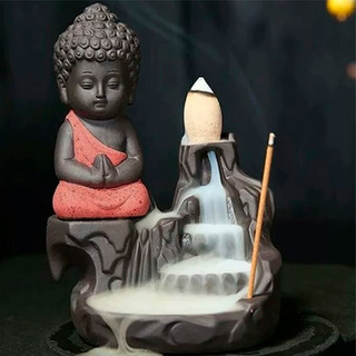 Quemador De Incienso Cascada Buda Indu + 30 Conos + 40 Varas