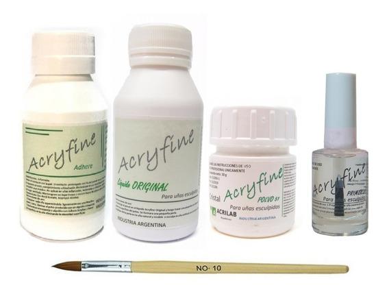 Kit Acrilicas Acryfine Monomero + Polimero + Adhere + Primer