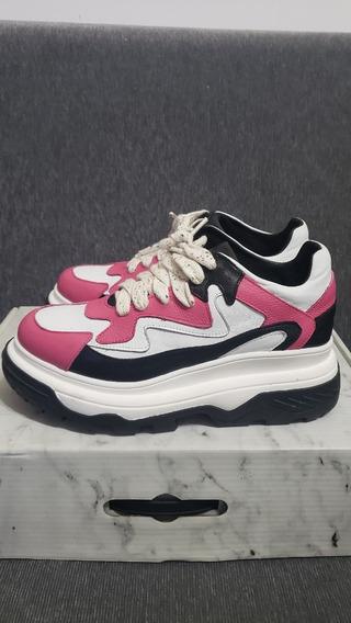 Zapatilla Sneakers Wild Like Me Con Plataforma Cuero Rosa