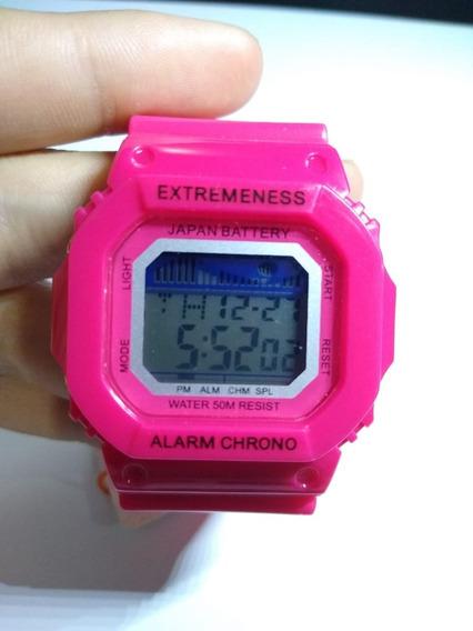 Reloj Mujer Digital Deportivo Alarma Hora Fecha Luz - Rosa