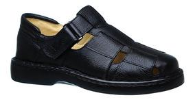 Sandália Masculina 306 Em Couro Floater Preto Doctor Shoes