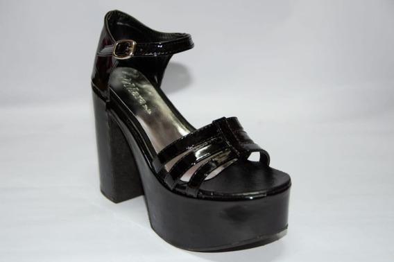 Sandalias De Fiesta Plataforma Taco De Mujer Negro/rojo 1105